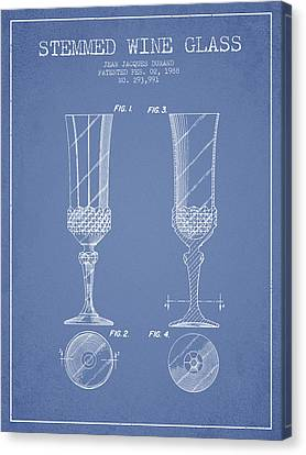 Stemmed Wine Glass Patent From 1988 - Light Blue Canvas Print by Aged Pixel