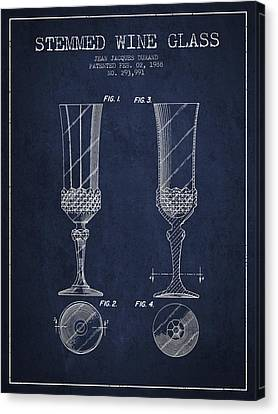 Stemmed Wine Glass Patent From 1988 - Navy Blue Canvas Print by Aged Pixel
