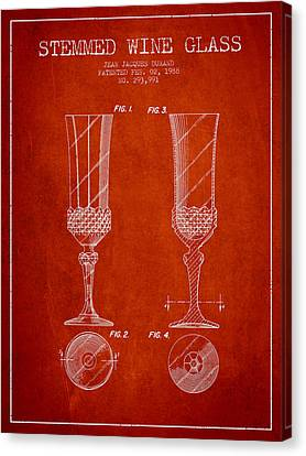 Stemmed Wine Glass Patent From 1988 - Red Canvas Print by Aged Pixel