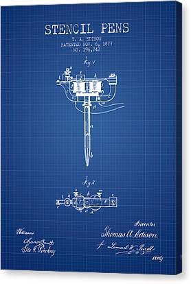 Stencil Pen Patent From 1877 - Blueprint Canvas Print by Aged Pixel