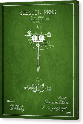 Stencil Pen Patent From 1877 - Green Canvas Print by Aged Pixel