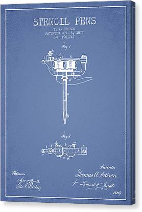 Stencil Pen Patent From 1877 - Light Blue Canvas Print by Aged Pixel