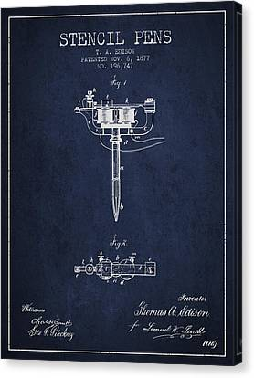 Stencil Pen Patent From 1877 - Navy Blue Canvas Print by Aged Pixel
