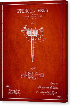 Stencil Pen Patent From 1877 - Red Canvas Print by Aged Pixel