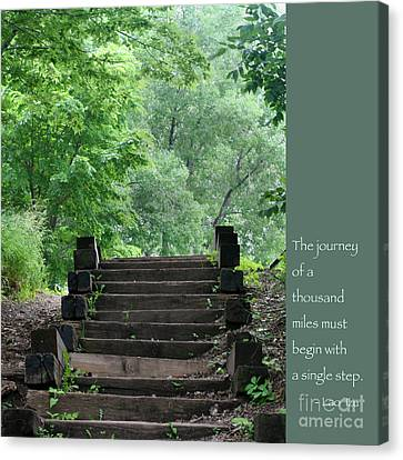 Steps And Lao Tzu Quote Canvas Print by Heidi Hermes