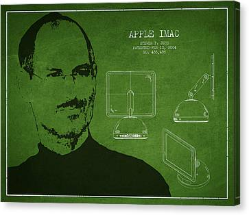 Steve Jobs Imac  Patent - Green Canvas Print by Aged Pixel