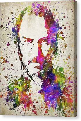 Steve Jobs In Color Canvas Print by Aged Pixel