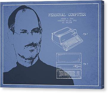 Steve Jobs Personal Computer Patent - Light Blue Canvas Print by Aged Pixel