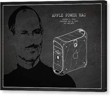 Steve Jobs Power Mac Patent - Dark Canvas Print by Aged Pixel