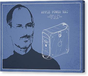 Steve Jobs Power Mac Patent - Light Blue Canvas Print by Aged Pixel