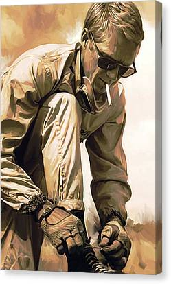 Steve Mcqueen Artwork Canvas Print by Sheraz A