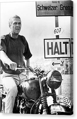 Steve Mcqueen On Motorcycle Canvas Print by Retro Images Archive
