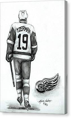Steve Yzerman Canvas Print by Allyson Andrewz