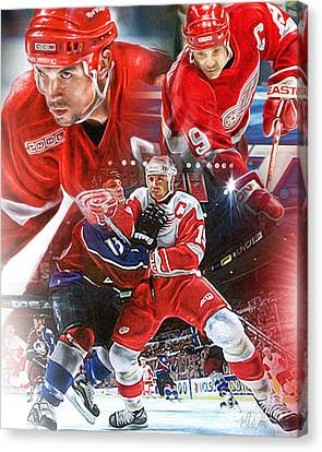 Steve Yzerman Collage Canvas Print by Mike Oulton