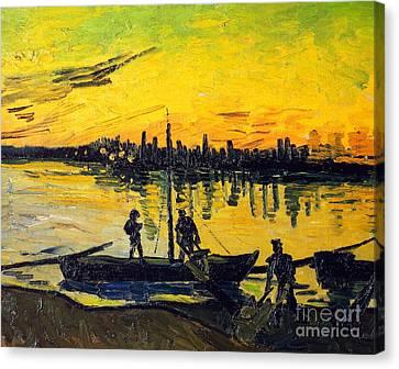 Stevedores In Arles Canvas Print by Vincent van Gogh