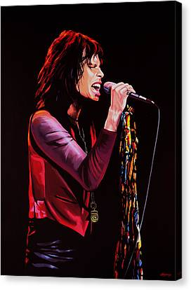 Steven Tyler In Aerosmith Canvas Print by Paul Meijering