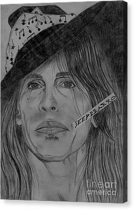 Steven Tyler Portrait Drawing Canvas Print by Jeepee Aero