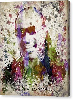 Stevie Wonder Portrait Canvas Print by Aged Pixel