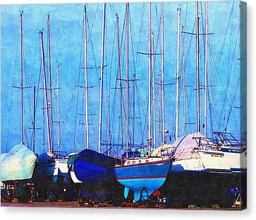 Still In Storage North Muskegon Marina  Canvas Print by Rosemarie E Seppala