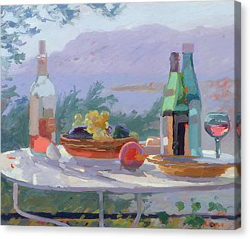 Still Life And Seashore Bandol Canvas Print by Sarah Butterfield