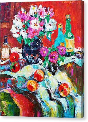 Still Life In Studio With Blue Bottle Canvas Print by Becky Kim