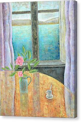 Still Life In Window With Camellia, 2012, Oil On Canvas Canvas Print by Ruth Addinall