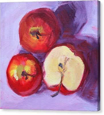 Still Life Kitchen Apple Painting Canvas Print by Nancy Merkle
