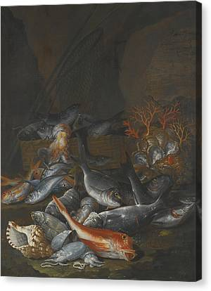 Still Life Of Assorted Fish Canvas Print by Celestial Images