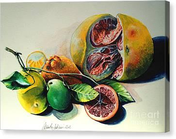Still Life Of Citrus Canvas Print by Alessandra Andrisani