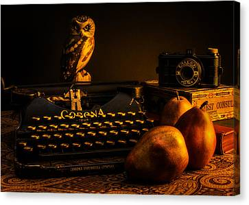 Still Life - Pears And Typewriter Canvas Print by Jon Woodhams