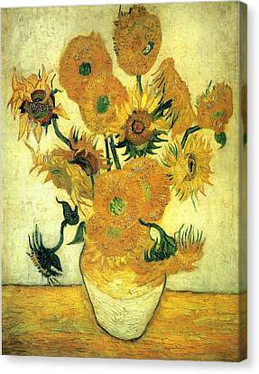 Still Life Vase With Fourteen Sunflowers 1889 Canvas Print by Vincent Van Gogh