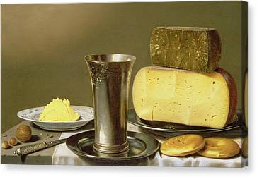 Still Life With Beaker Cheese Butter And Biscuits Canvas Print by Floris van Schooten
