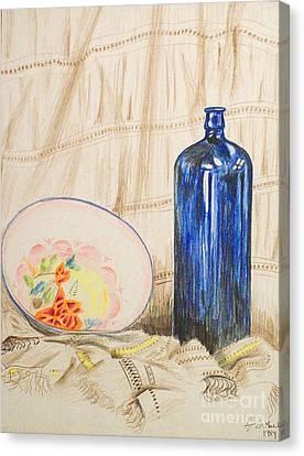 Still-life With Blue Bottle Canvas Print by Alan Hogan