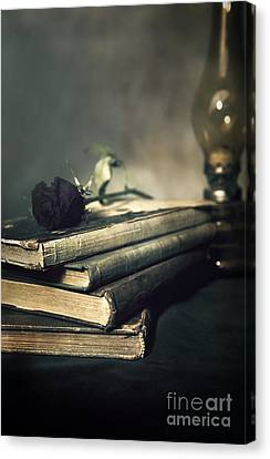 Still Life With Books And Roses Canvas Print by Jaroslaw Blaminsky