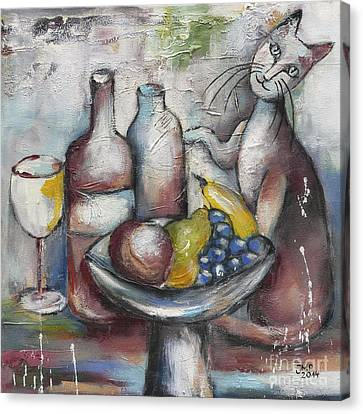 Still Life With Cat Canvas Print by Jutta Maria Pusl