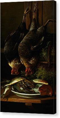 Still Life With Chickens And Fish Canvas Print by Celestial Images