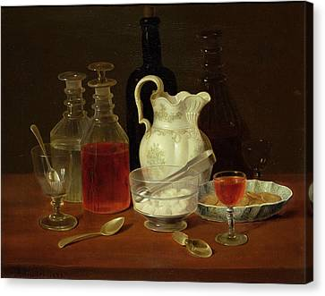 Still Life With Decanters Canvas Print by J Rhodes