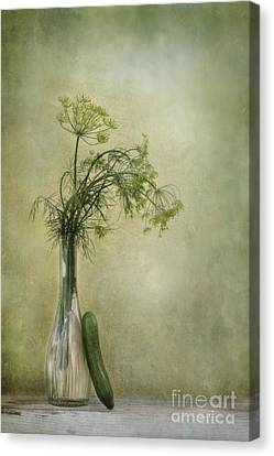 Still Life With Dill And A Cucumber Canvas Print by Priska Wettstein