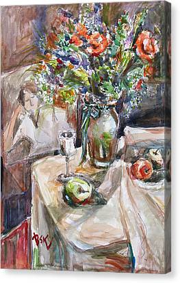 Still Life With Figural Background Canvas Print by Becky Kim