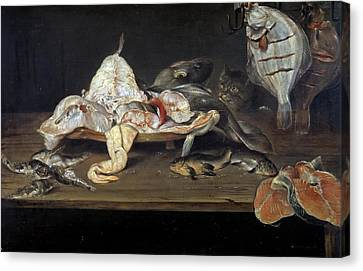 Still Life With Fish And A Cat Canvas Print by Alexander Adriaenssen