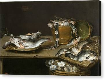 Still Life With Fish Oysters And A Cat Canvas Print by Alexander Adriaenssen