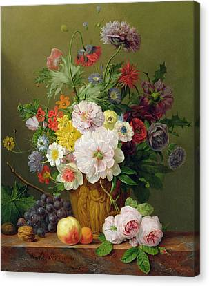 Still Life With Flowers And Fruit Canvas Print by Anthony Obermann