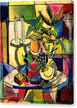 Still Life With Fruit Candles And Bamboo Canvas Print by Everett Spruill