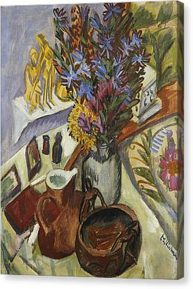 Still Life With Jug And African Bowl Canvas Print by Ernst Ludwig Kirchner