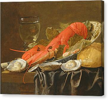 Still Life With Lobster, Shrimp, Roemer, Oysters And Bread Oil On Copper Canvas Print by Christiaan Luykx or Luycks