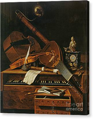 Still Life With Musical Instruments Canvas Print by Pieter Gerritsz van Roestraten