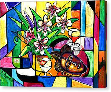 Still Life With Orchids And African Mask Canvas Print by Everett Spruill