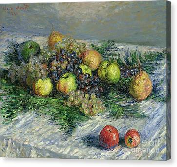 Still Life With Pears And Grapes Canvas Print by Claude Monet