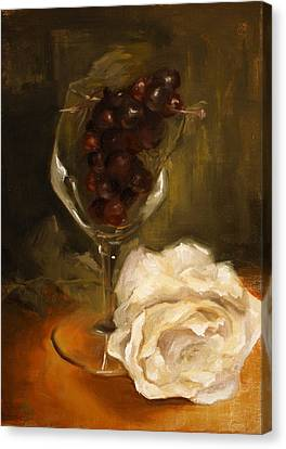 Still Life With Rose Canvas Print by Alison Schmidt Carson