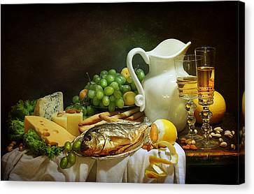 Still-life With Smoked Fish And Cream Cheese Both Fresh Fruit And Fragrant White Wine Canvas Print by Marina Volodko